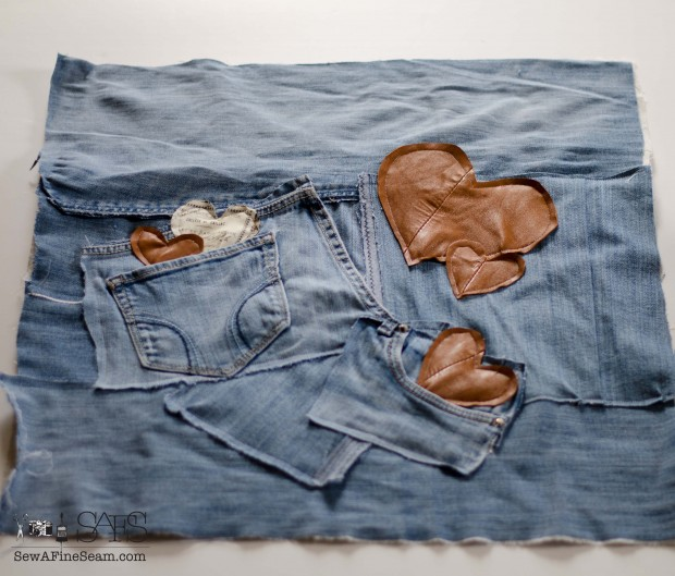 Old jeans and leather create a fun unique valentines pillow