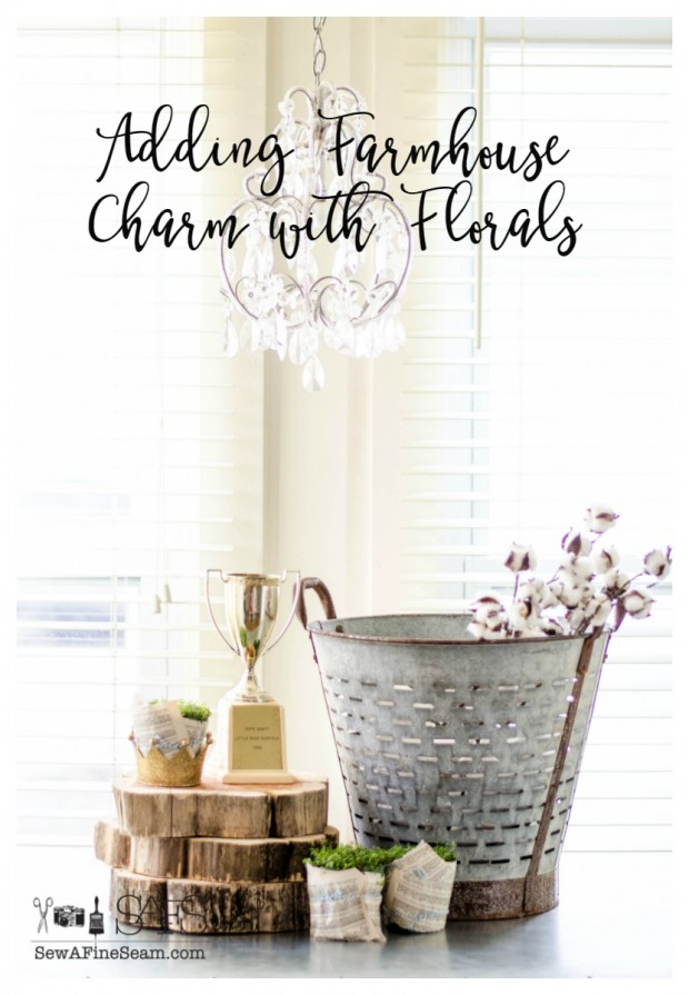 adding farmhouse charm with floral touches and baby's tears plants