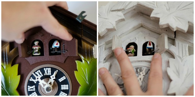 Cuckoo clock bird and fiddler before and after