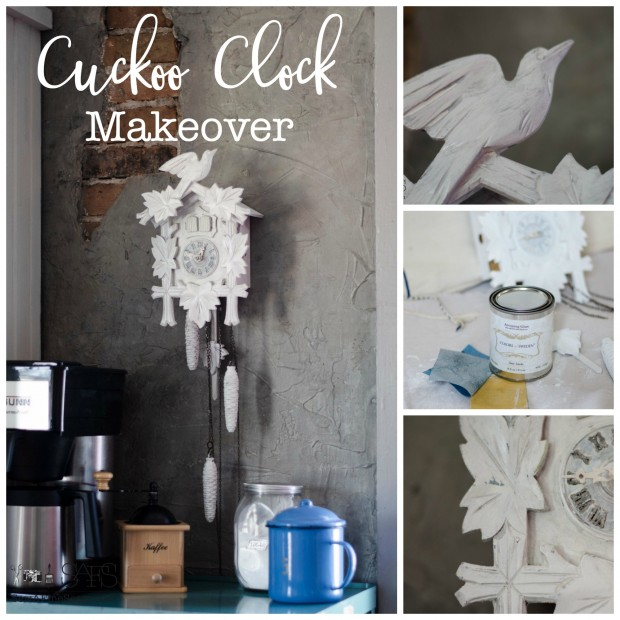 cuckoo clock makeover using white paint and white and dark glazes