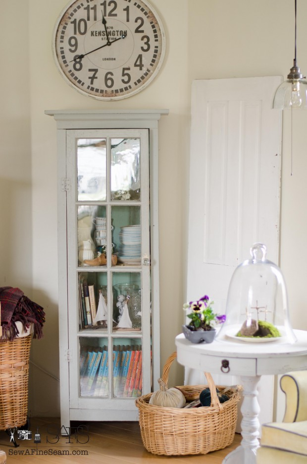 spring farmhouse decor cupboard in the corner
