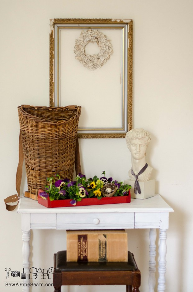 spring farmhouse decor david and pansies
