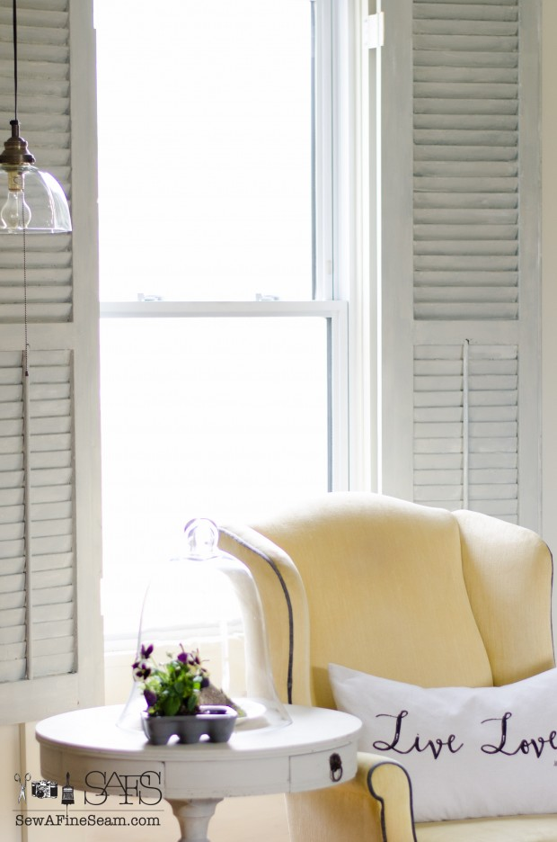spring farmhouse decor living room shutters