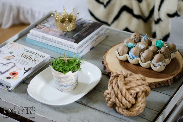 spring farmhouse decor on the coffee table
