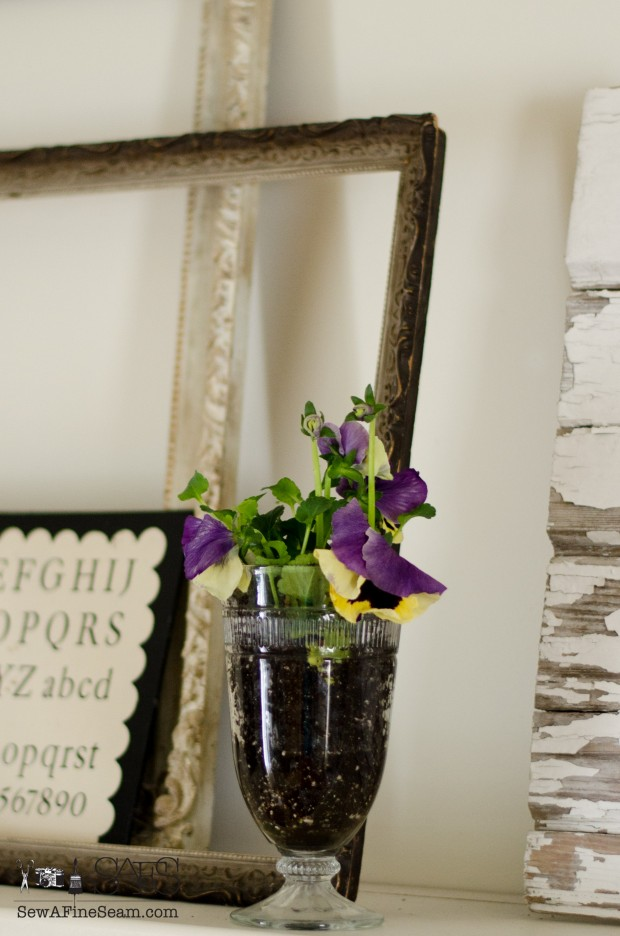 spring farmhouse decor pansies in glassware