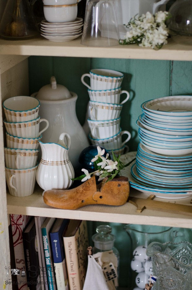 spring farmhouse decor piles of dishes