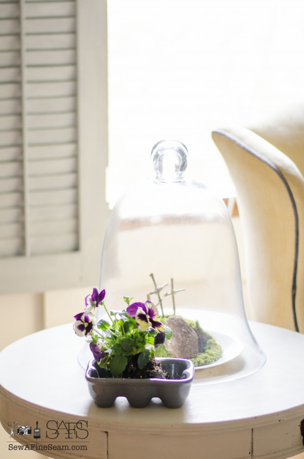 spring farmhouse decor with pansies