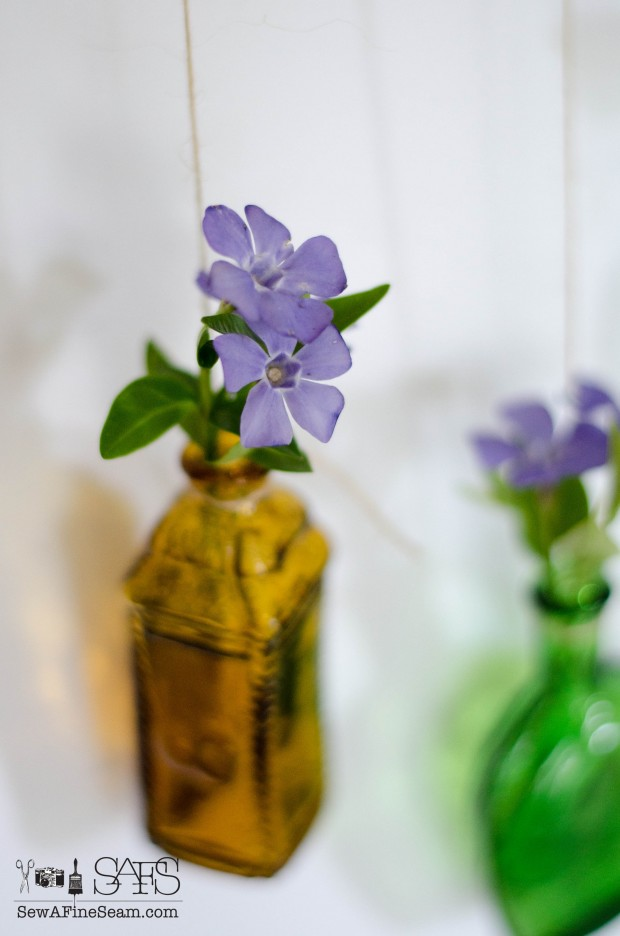 Flower Vases from Tiny Bottles for tiny flowers