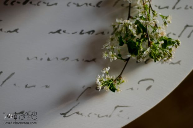 Morning Table with elegant french script close up
