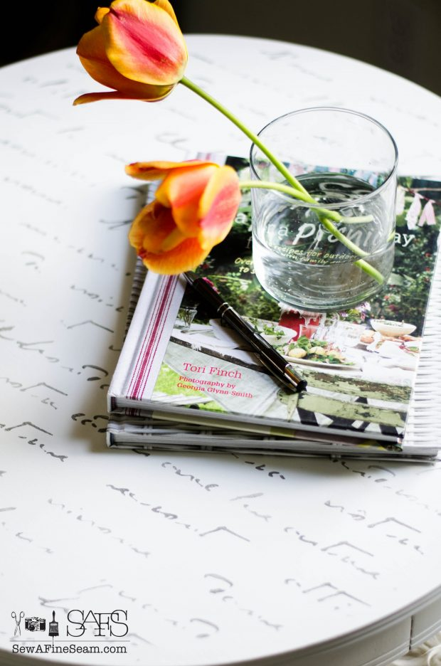 Morning Table with elegant french script for writing letters
