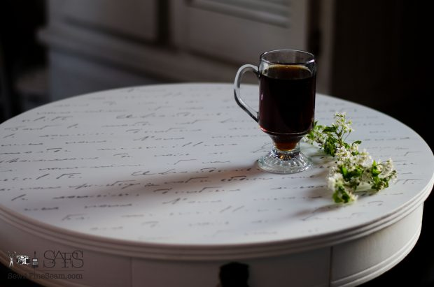 Morning Table with elegant script for a morning coffee