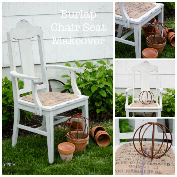 burlap chair seat makeover on a milk painted chair