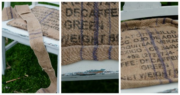 burlap chair seat makeover piping