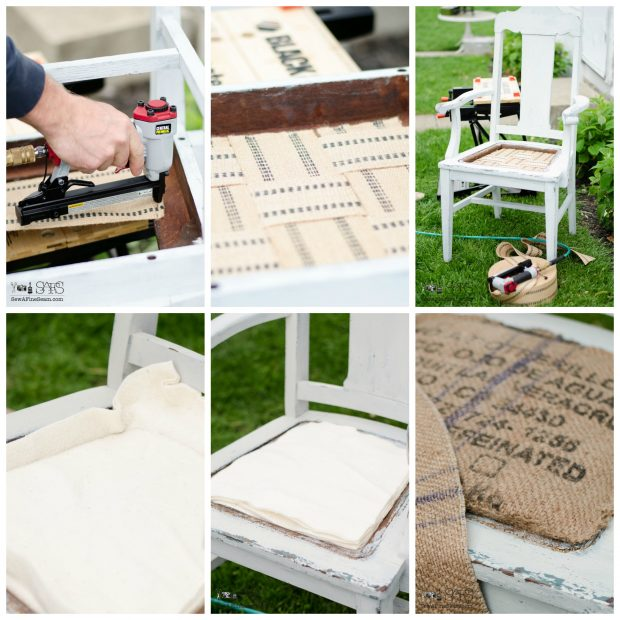 burlap chair seat makeover webbing and padding