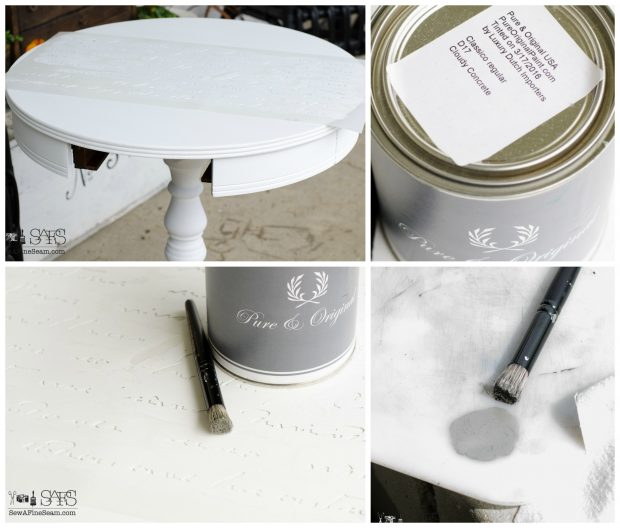 morning table with elegant french stencil on top