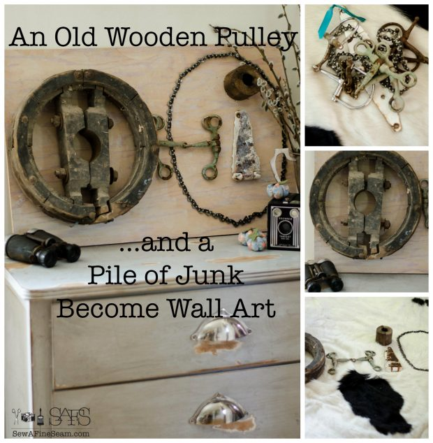 Old Wooden Pulley and a Pile of Junk become Wall art