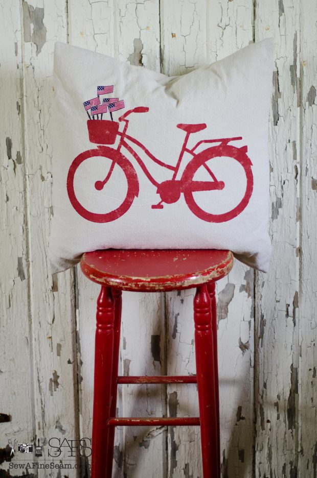 patriotic pillow red bike with flags