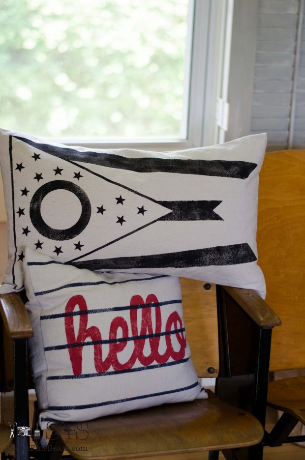 patriotic pillows hello and ohio flag