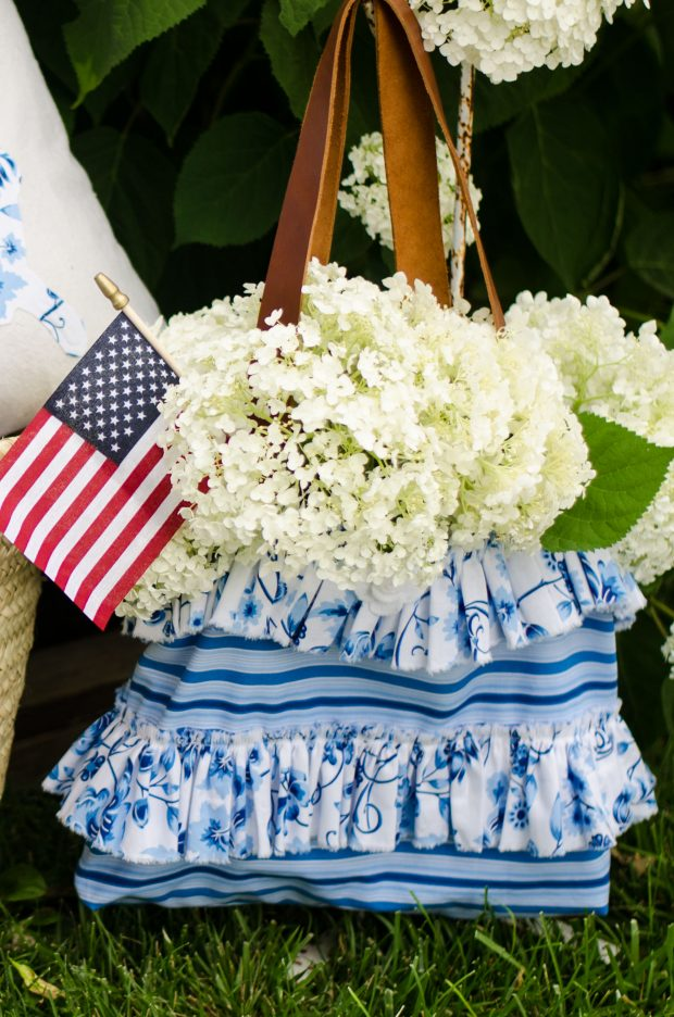 sweet tea fabric by thistlewood farms handbag with hydrangea and US flag