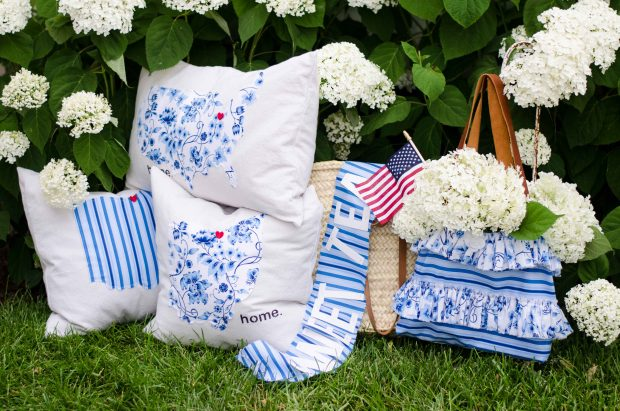 sweet tea fabric by thistlewood farms pillows and handbag with leather handles