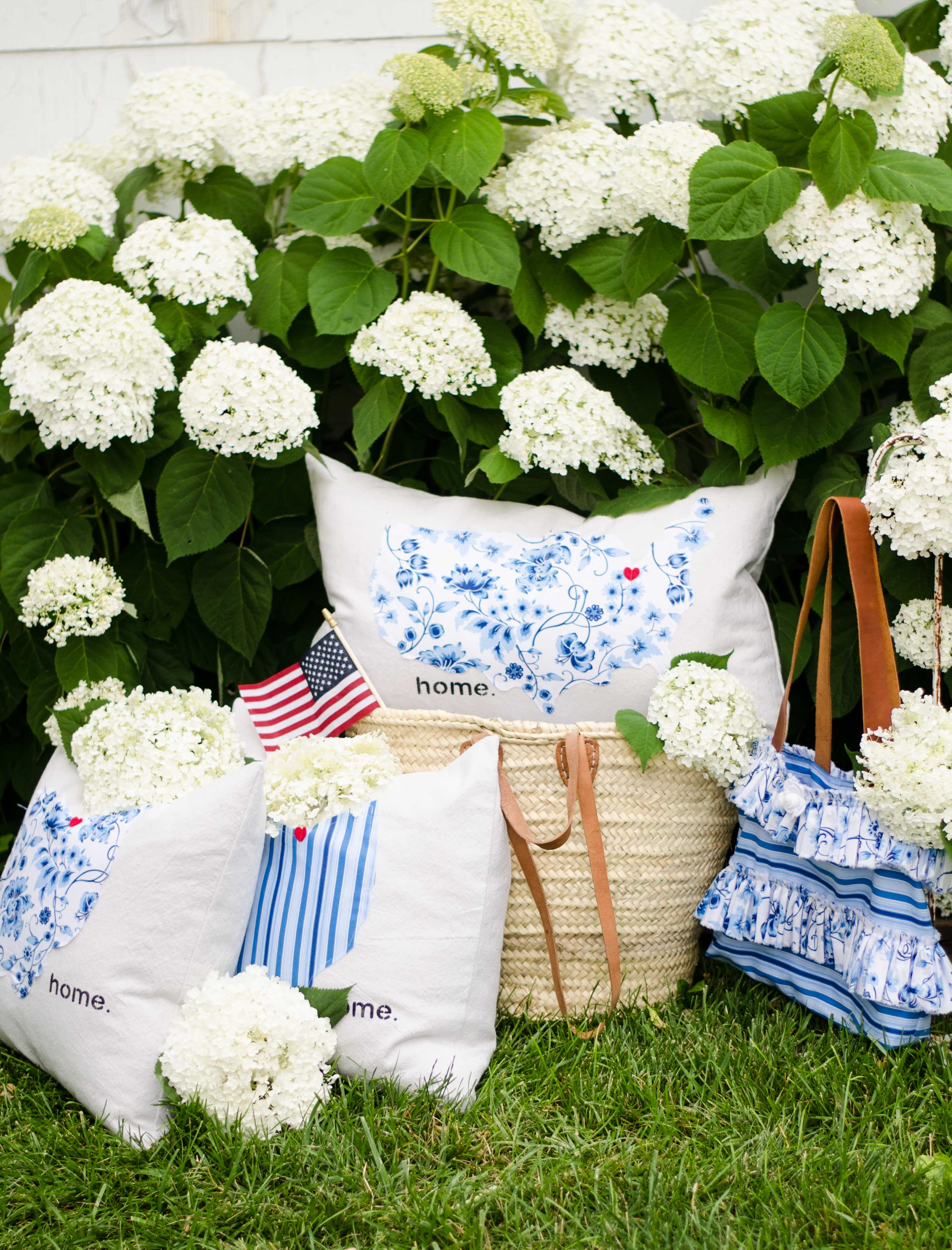 sweet tea fabric by thistlewood farms stripes and floral in handbag and pillows