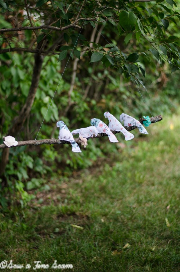 birds on a wire mobile made of tree branch and sweet tea fabric