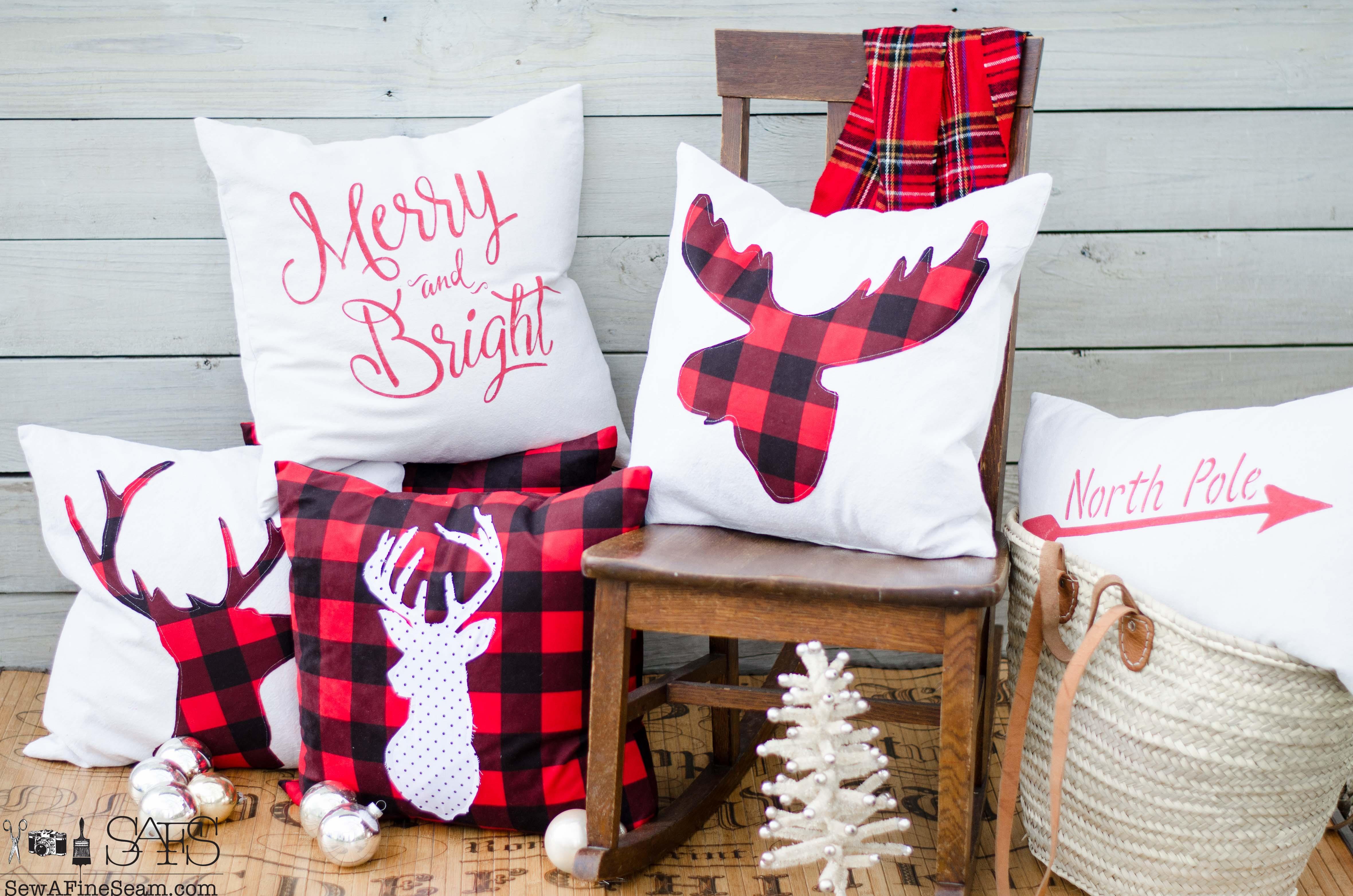 red plaid christmas pillows 2016 - Christmas Pillows