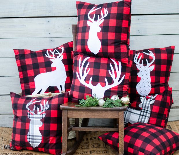 white-deer-head-on-red-plaid-christmas-pillows-2016