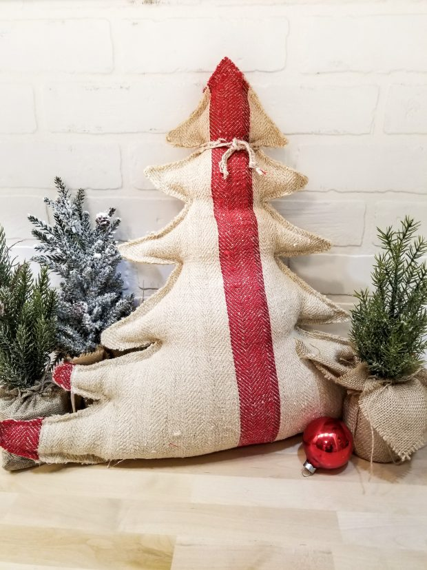 grain sack tree pillow