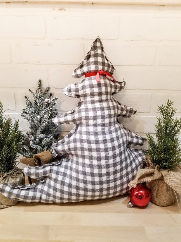 tree shaped pillow - grey check