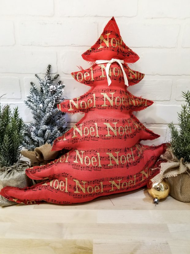 red noel tree pillow