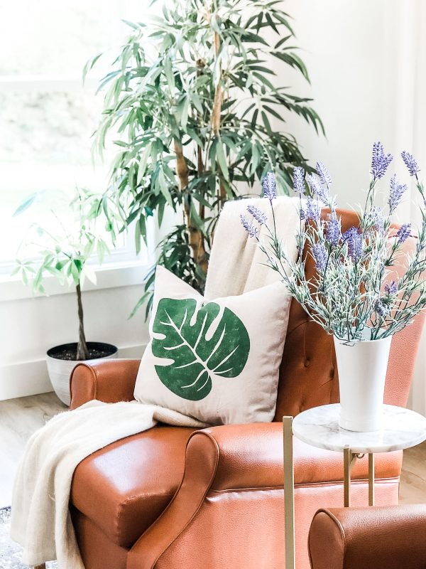 monstera leaf in living room