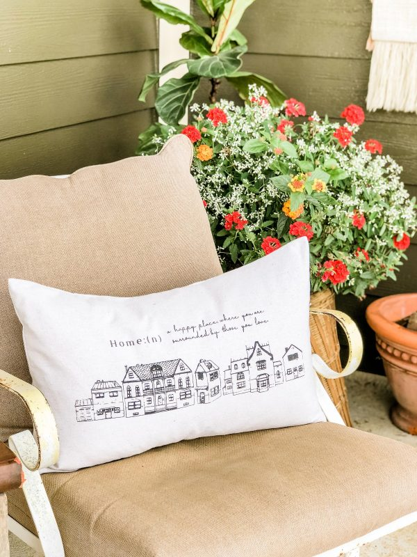 row of houses pillow