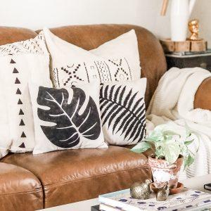 botanical-leaf-boho-pillow